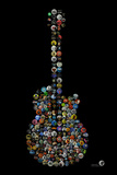 Rock Guitar Buttons by Gdogs Cosmic Rock Poster Print by  Gdog