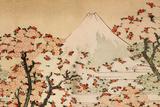 Katsushika Hokusai Mount Fuji Behind Cherry Trees and Flowers Poster Poster by Katsushika Hokusai