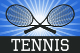 Tennis Crossed Rackets Blue Sports Poster Prints