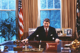 President Ronald Reagan in Oval Office Poster Photo