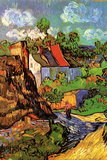 Vincent van Gogh Houses in Auvers Hillside Poster Prints by Vincent van Gogh
