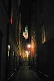 Stockholm Sweden Cobblestone Street At Night Photo