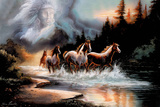 Horses Running in a River with a Native American Spirit Poster Posters