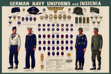 German Navy Uniforms and Insignia Chart - WWII War Propaganda Poster Prints