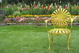 Santa Fe Flower Garden with Vintage Yellow Chair Photo Poster Poster