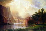 Albert Bierstadt Between the Sierra Nevada Mountains Art by Albert Bierstadt