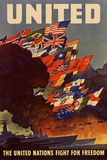 United The United Nations Fight for Freedom WWII War Propaganda Poster Posters