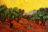 Vincent van Gogh Olive Trees with Yellow Sky and Sun Poster Posters