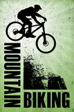 Mountain Biking - Green Sports Poster Posters