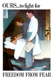 Norman Rockwell Freedom From Fear WWII War Propaganda Poster Poster by Norman Rockwell