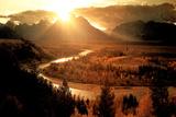 Teton & Snake River (Setting Sun) Poster Poster