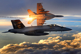 F/A-18 Super Hornets (Flying in Sunlight) Photo