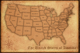 United States Vintage Style Map Poster Prints