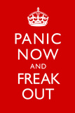 Panic Now And Freak Out Keep Calm Inspired Poster Poster