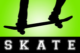 Skateboarding Green Sports Posters