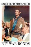 Norman Rockwell Save Freedom of Speech WWII War Propaganda Poster Posters by Norman Rockwell