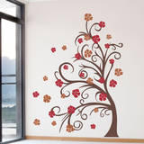 Curly Tree & Flowers in the Wind Brown Wall Decal Wall Decal