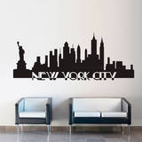 New York City Skyline Black Wall Decal Vinilo decorativo