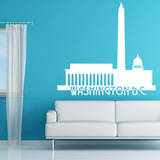 Washington DC Skyline White Wall Decal Wall Decal