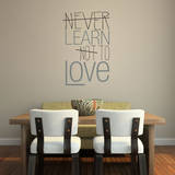 Learn to Love Quote Grey Wall Decal Decalques de parede