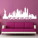 New York City Skyline White Wall Decal Vinilo decorativo