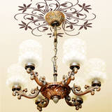 Flowering Chandelier Medallion Brown Wall Decal Wall Decal