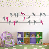 Birds on a Wire Grey Wall Decal Wall Decal