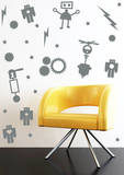 Retro Robot Set Grey Wall Decal Wall Decal
