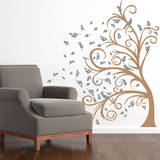 Curly Tree, Leaves & Birds in the Wind Grey Wall Decal Wall Decal