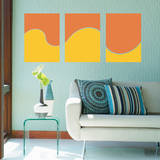 Abstract Wave Panels Persimmon Wall Decal Adesivo de parede