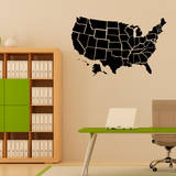 Black US Map Wall Decal Wall Decal