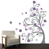 Curly Tree & Flowers in the Wind Violet Wall Decal Wall Decal