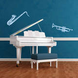 Trumpet & Saxophone Blue Wall Decal Wall Decal