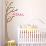 Half Tree & Birds Soft Pink Wall Decal Wall Decal