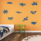 Fly Away Airplanes Genetian Wall Decal Decalques de parede