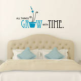 All Things Grow Quote Teal Wall Decal Decalques de parede