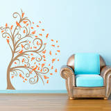 Curly Tree, Leaves & Birds in the Wind Persimmon Wall Decal Wall Decal