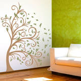 Curly Tree, Leaves & Birds in the Wind Olive Wall Decal Wall Decal