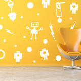 Retro Robot Set White Wall Decal Decalques de parede