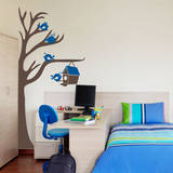 Half Tree & Birdhouse Azure Wall Decal Wall Decal
