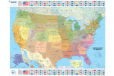 Michelin Official United States Political Map with Flags Poster Print