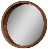 Lucerne Solid Walnut Veneer Round Mirror Wall Mirror by  Jonathan Wilner/Paul De Bellefeuille