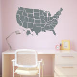 Grey US Map Wall Decal Wall Decal