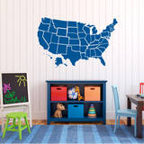 Traffic Blue US Map Wall Decal Adesivo de parede