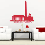 Washington DC Skyline Red Wall Decal Wall Decal