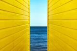 2 Yellow Beach Huts Photographic Print by Andy Bell