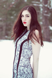 Young Adult Female with Long Brunette Hair, Red Lipstick And Pale Complexion Photographic Print by Josefine J??nsson