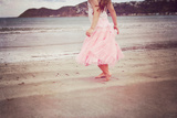 Girl in Tulle At Beach Edge 2 Photographic Print by Susannah Tucker