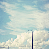 Blue Sky And Clouds with Power Lines 2 Photographic Print by Susannah Tucker