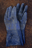 Heavy-duty Blue Rubber Gloves Spattered with Paint Or Chemicals Lying On Rusty Metal Sheet Photographic Print by Den Reader